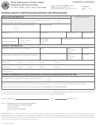 "Form LTC-94 ""School Safety Certification Instructor Application Form"" - Texas"
