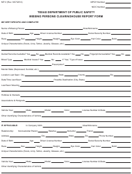 "Form MP-3 ""Missing Persons Clearinghouse Report Form"" - Texas"
