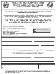 "Form MCS-21 ""Release of Cdl Holder's Reported Positive Alcohol or Controlled Substance Test Results"" - Texas"