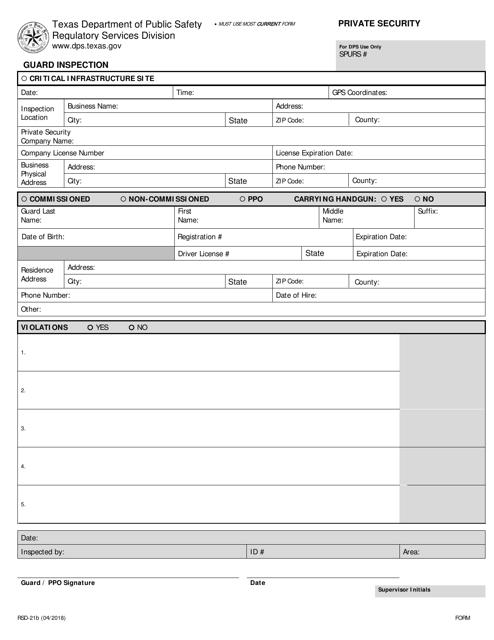 Form RSD-21B Printable Pdf