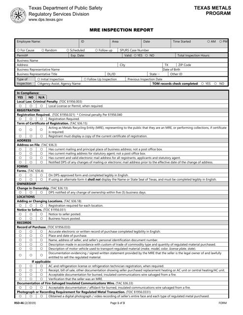 Form RSD-46  Printable Pdf