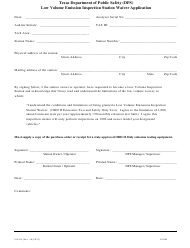 "Form VIE-90 ""Low Volume Emission Inspection Station Waiver Application"" - Texas"