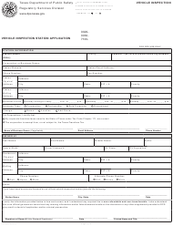 """Form VI-2 """"Vehicle Inspection Station Application"""" - Texas"""
