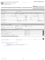 "Form VIE-3 ""Recognized Emissions Repair Technician / Owner Application"" - Texas"