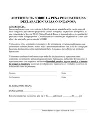 """""""Advertencia Sobre La Pena Por Hacer Una Declaracion Falsa O Enganosa"""" - Texas (Spanish)"""