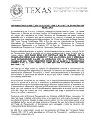 """""""Aplicacion Para Reclamo Al Fondo De Recuperacion Monetaria"""" - Texas (Spanish)"""