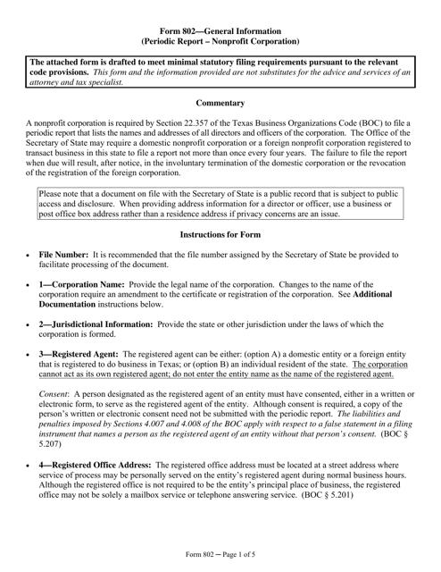 Form 802  Printable Pdf