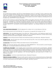 "Form OP-AR3 (TCEQ-10097) ""New Unit Exemption"" - Texas"