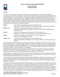 "Form OP-UA22 (TCEQ-10047) ""Printing Attributes"" - Texas"