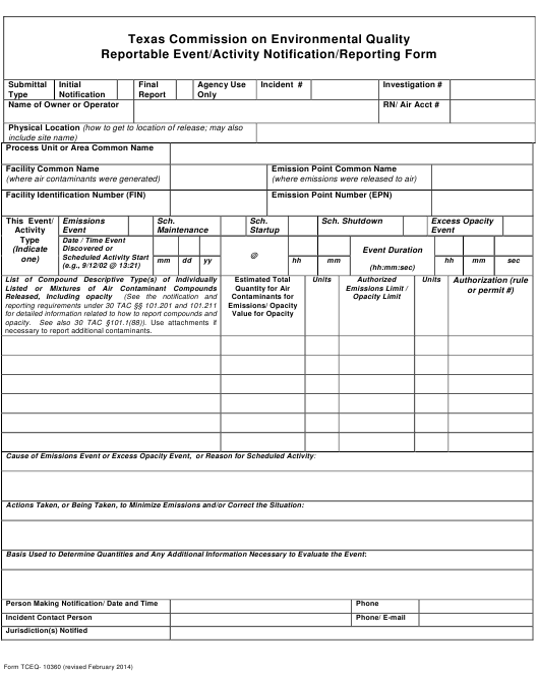 Form TCEQ-10360  Printable Pdf