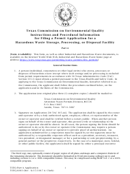 "Form TCEQ-0283 ""Permit Application for a Hazardous Waste Storage, Processing, or Disposal Facility"" - Texas"