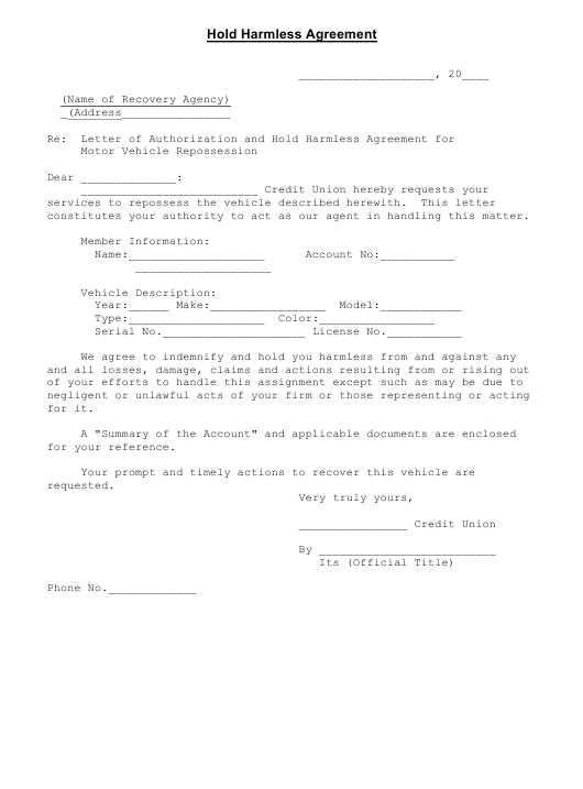 """""""Hold Harmless Agreement Template"""" Download Pdf"""