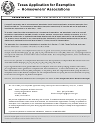 "Form AP-206 ""Texas Application for State Tax Exemption for Homeowners' Associations"" - Texas"