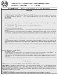 "Form AP-146 ""Texas Original Application for Coin-Operated Machine Registration Certificate and Tax Permit(S)"" - Texas"