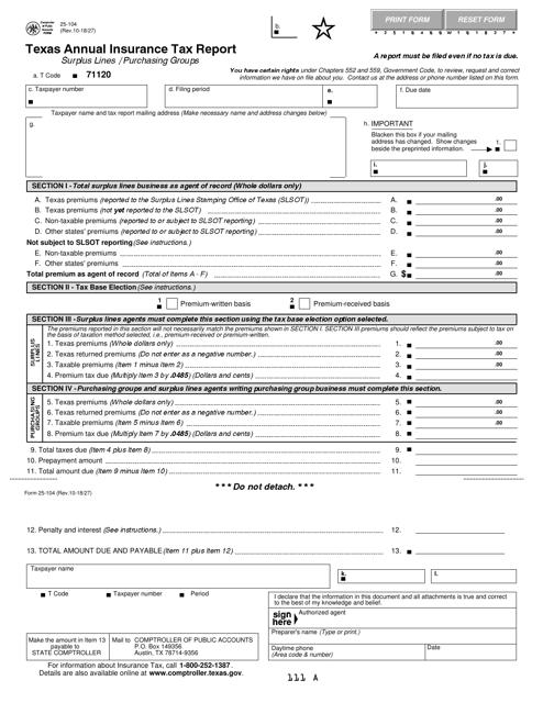 Form 25-104  Printable Pdf
