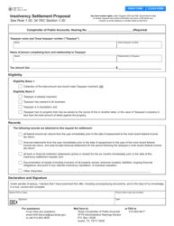 "Form 89-117 ""Insolvency Settlement Proposal"" - Texas"