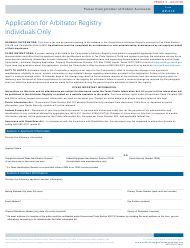 """Form AP-218 """"Application for Arbitrator Registry Individuals Only"""" - Texas"""
