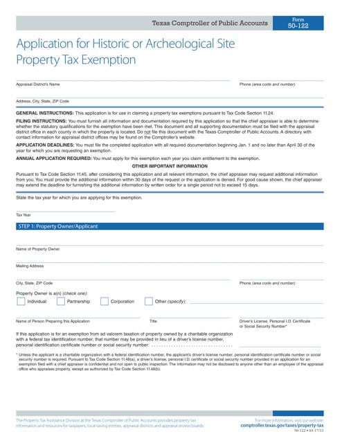 Form 50-122  Printable Pdf
