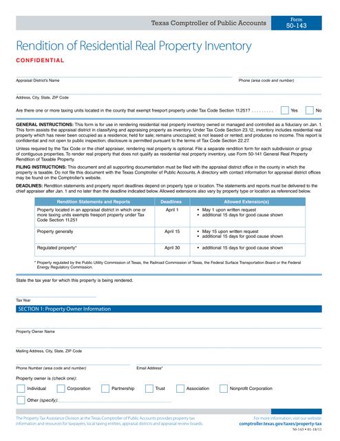 Form 50-143  Printable Pdf