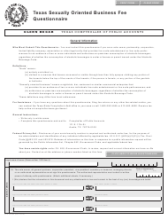"Form AP-225 ""Texas Sexually Oriented Business Fee Questionnaire"" - Texas"