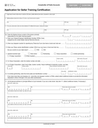 "Form AP-192 ""Application for Seller Training Certification"" - Texas"