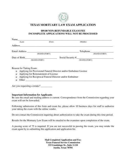 """""""Texas Mortuary Law Exam Application Form"""" - Texas Download Pdf"""