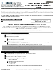 "Form CAB23 ""Credit Access Business Branch Application Checklist (90 Days)"" - Texas"