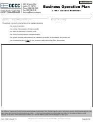 "Form CAB13 ""Business Operation Plan - Credit Access Business"" - Texas"
