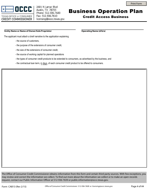 Form CAB13  Printable Pdf