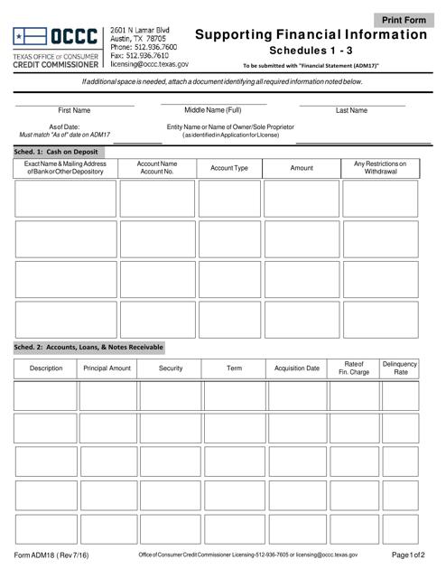 Form ADM18  Printable Pdf