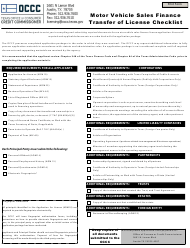 """Motor Vehicle Sales Finance Transfer of License Checklist"" - Texas"