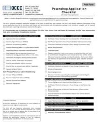 """Pawnshop Application Checklist"" - Texas"