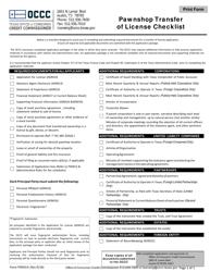 "Form PWN14 ""Pawnshop Transfer of License Checklist"" - Texas"
