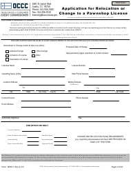"Form PWN11 ""Application for Relocation or Change to a Pawnshop License"" - Texas"