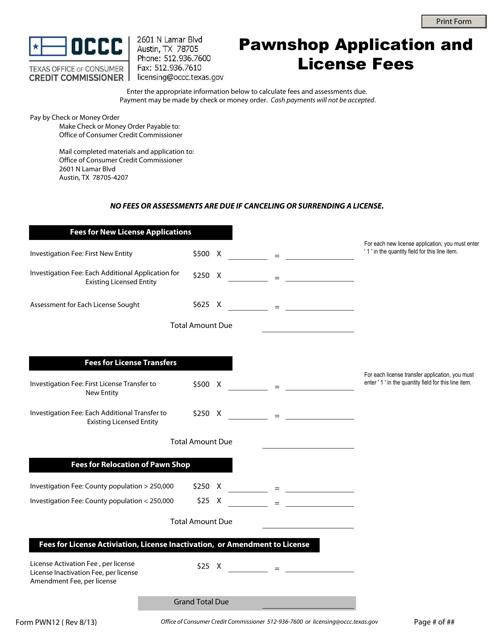Form PWN12  Printable Pdf