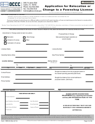 "Form PWN10 ""Application for Relocation or Change to a Pawnshop License"" - Texas"