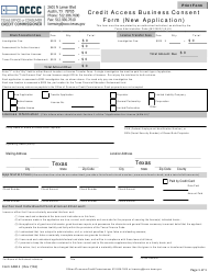 "Form CAB11 ""Credit Access Business Consent Form (New Application)"" - Texas"