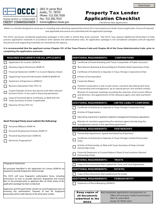 """Property Tax Lender Application Checklist"" - Texas Download Pdf"