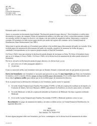 """Formulario 1A007S """"Declaracion Jurada De Pagos Directos Del Padre Con Custodia"""" - Texas (Spanish)"""