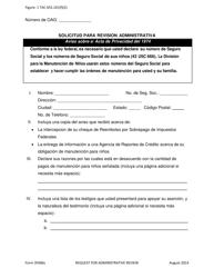 """Formulario 3F006S """"Solicitud Para Revision Administrativa"""" - Texas (Spanish)"""