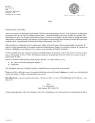 """Formulario 1A007S """"Declaracion Jurada De Pagos Directos Del Padre Sin Custodia"""" - Texas (Spanish)"""