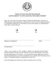 """Supplement to Application for Employment"" - Texas"