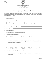 "Form 133.19 ""Waiver or Refund Request by a Military Applicant"" - Texas"