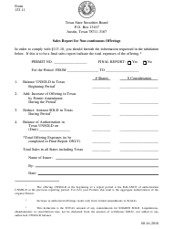 "Form 133.11 ""Sales Report Form for Non-continuous Offerings"" - Texas"