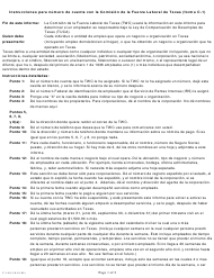 """Instrucciones para Formulario C-1 """"Numero De Cuenta Con La Comision De La Fuerza Laboral De Texas"""" - Texas (Spanish)"""