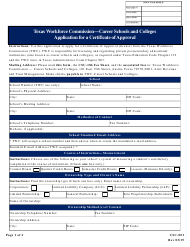 """Form CSC-001 """"Application for a Certificate of Approval"""" - Texas"""