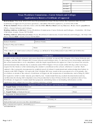 """Form CSC-015 """"Application to Renew a Certificate of Approval"""" - Texas"""