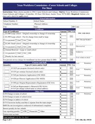 "Form CSC-186 ""Fee Sheet"" - Texas"