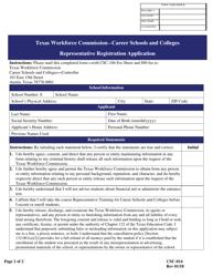 """Form CSC-014 """"Representative Registration Application"""" - Texas"""