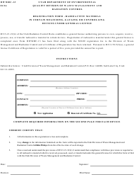 Form DWMRC-13 Registration Form - Radioactive Material in Certain Measuring, Gauging or Controlling Devices Under General License - Utah